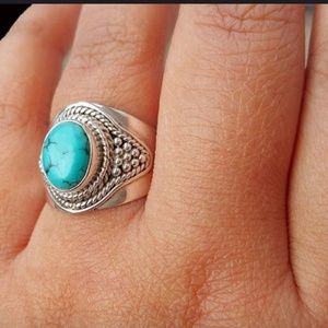 RING NEW ANTIQUE 925 SILVER TURQUOISE